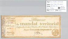 MANDAT TERRITORIAL - 250 FRANCS (AVEC LE N° DE SERIE) 28 VENTOSE AN 4 GUYEZ