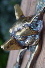 Vintage Brass Fox Head Door Knocker old reclaimed front bell knob pull hook