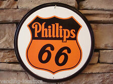 "Phillips 66 Gas 12"" Round Vintage Style Metal Gasoline Motor Oil Petroleum Mobil"