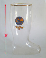 "OLD EDITION - 1 x Singapore beer glass -  Tiger beer  6"" "" Boot Glass """