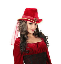SteamPunk Cosplay Vampire Red Faux Suede Victorian Top Hat with Veil NEW UNWORN