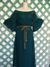 BAILEY BLUE OFF THE SHOULDER EMERALD CROCHETED LACE PEASANT MAXI DRESS L-M NEW