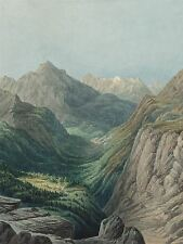 RODOLPHE LEON BERTHOUD SWISS ALPINE VALLEY OLD ART PAINTING POSTER BB6332A