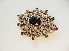 Large Art Deco Fine Silver Ruby & Emerald Fan Brooch