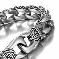 Motorcycle Men's 316 Stainless Steel Bracelet Dragon Curb Link Chain Silver Tone