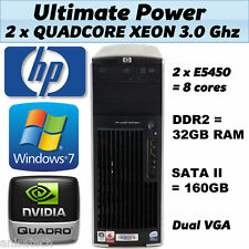 HP XW6600 QUAD CORE 3,00 Ghz 32GB DDR2 RAM 160 GB SATA NVIDIA QUADRO Windows 7 64