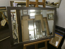 "NEW MODERN PEWTER/SILVER BEVEL OVERMANTLE WALL MIRROR - 33"" X 23"" - EX DISPLAY I"