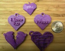 Valentine - Set of 5 Hearts for Pendants, Charms, Keychain - 3D Printed Plastic