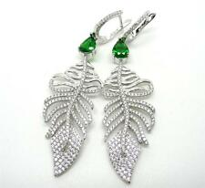 DAZZLING LAB GREEN EMERALD & CUBIC ZIRCONIA 925 SILVER LONG LEAF DANGLE EARRINGS