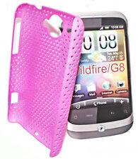 Mesh Case Handy Cover Schale Hülle in Pink + Displayschutzfolie für HTC Wildfire