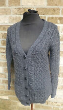 Women's Inis Crafts Charcoal Gray 100% Merino Wool Top / cardigan Sweater Sz s