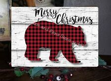 Primitive Merry Christmas Sign Plaid Bear Lumberjack Wooden Vintage Sign