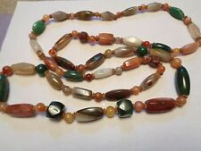 Vintage  LONG Polished Assorted Carnelian Jasper Agate Stone Beaded Necklace 53""