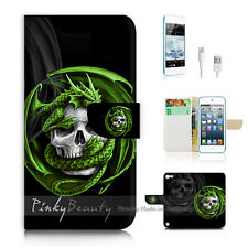 iPod Touch 5 iTouch 5 Flip Wallet Case Cover! P1079 Skull