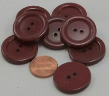 "Lot of 8 Large Dark Chocolate Brown Plastic Coat Buttons 1"" 25mm  # 6529"
