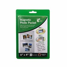 "3 PK MAGNETIC PHOTO POCKET HOLDER FRIDGE MAGNET PHOTOGRAPHS 6"" x 4"" BRAND NEW"