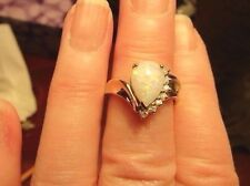 WOMENS PEAR SHAPE FIRE OPAL, DIAMONDS AND GOLD RING, SZ, 6.5, 10 OR 14K GOLD,EUC