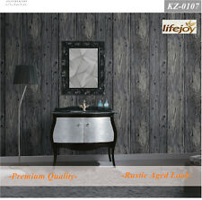 French Provincial Rustic Timber Plank Panel Wood Effect Wallpaper in Dark Grey