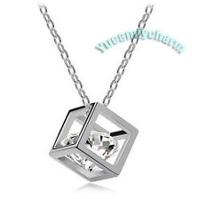 Made in Korea 3D CUBE w/ Austrian CZ Crystal inside white gold Plated Necklace