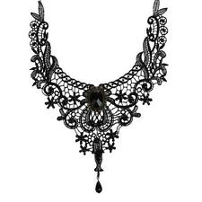 Fashion Luxury Women Girls Black Crystal Lace Beads Choker Necklace Jewelry New