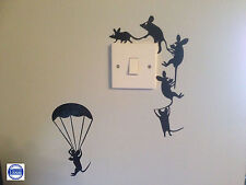 Mouse  Wall Art Sticker Climbing & Parachuting Vinyl Decal Mice Home Funny