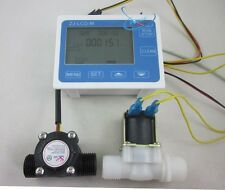 "G1/2"" Water Flow Control LCD Display+Flow Sensor Meter+Solenoid Valve Gauge New"