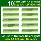 10 x AA 1.2V 600mAh NiMH Rechargeable Batteries for Garden Solar Lights (NiCd)UK