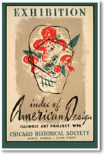 Vintage WPA American Design Chicago Illinois Art Poster