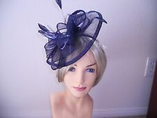 navy blue fascinator Kentucky derby hat navy blue  church hat