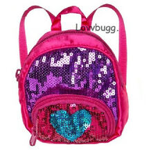 """Heart Pink Sequins Backpack for 18"""" American Girl Doll School Supplies Selection"""