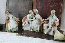Set of 3 German Bisque porcelain marked Figurines sitting sofa victorian couple