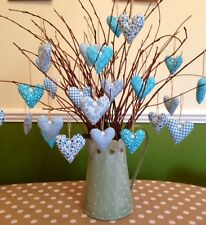Shabby Chic/Vintage Hanging Hearts X6 Handmade TwigTree Dec Turquoise/white Home