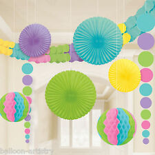 9 Piece Bright WELCOME Baby Shower Party Paper Fan Garland Room Decorating Kit