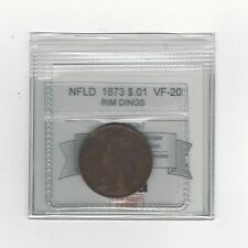 **1873**, Coin Mart Graded, Newfoundland  Large One Cent, **VF-20**Rim Dings