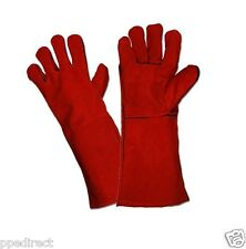 Red Woodburner Gloves High Temperature Welders / Welding Gloves Gauntlets Lined