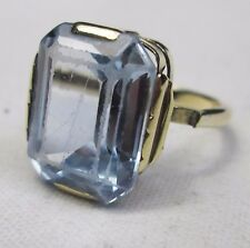 Vintage 9ct Gold  Baguette Blue Topaz Cocktail Dress Ring Size M