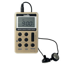 Portable FM/AM 2Band Pocket Radio Receiver w/ Rechargeable Battery&Earphone