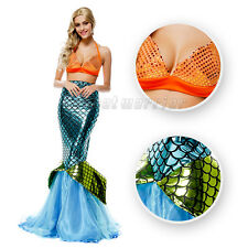 Adult Sexy Ariel Mermaid Cosplay Costume Sirena Tail Fancy Dress+Bra Ball Gown F