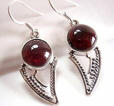 Garnet Tribal Style 925 Sterling Silver Dangle Drop Earrings Imported from India