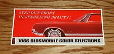 Original 1966 Oldsmobile Colors Brochure 66 Cutlass F-85 Deluxe Toronado