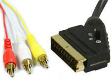 1.5 m Scart Vers 3 X Phono Câble dans out commutable composite RCA triple commutateur de plomb