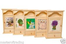 DECOUPAGE naturale Plain cassetto in legno 6 CHIAVI CASA STAFFA HOLDER ganci ARMADIETTO