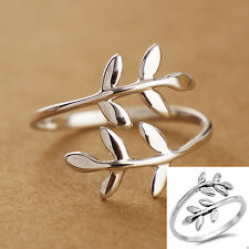 Women European Brand Vintage Silver Leaf Branch Adjustable Rings