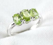 Genuine Peridot 3 Stone Ring 1.99ct in 925 Sterling Silver Size 6 List $240.00