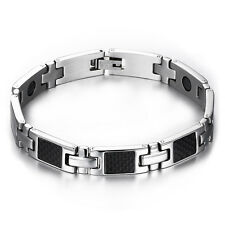 Men's Carbon Fiber Material Titanium Steel Magnetic Health Therapy Care Bracelet