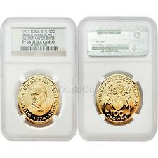 Turks & Caicos Islands 1974 Winston Churchill 100 Crowns Gold NGC PF68 UC