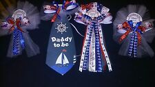 Mommy Daddy and 2 Grandma   Nautical  Baby shower corsages