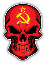 "Uni Soviet Flag Skull USSR Soviet Union Car Bumper Sticker Decal 4"" x 5"""