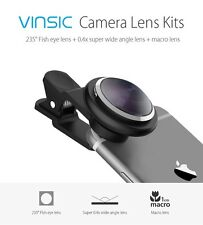Vinsic Clip On 235 Degree Fish Eye Lens, Wide Angle Lens, 3 in 1 Camera Lens Kit