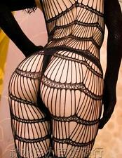 SEXY BLACK STRING LACE OPEN CROTCH BODYSTOCKING BODYSUIT CATSUIT LINGERIE 8-14